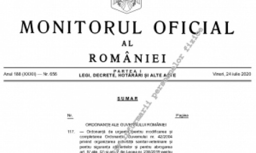 Modificarile aduse OG 42/2004 au fost publicate in Monitorul Oficial